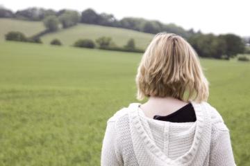pretty girl, blonde, woman, field, grass