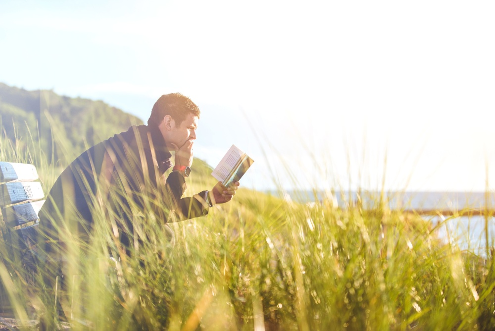 man, field, grass, nature, summer, sky, book