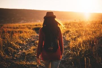 sunset, landscape, woman, field, dusk, nature