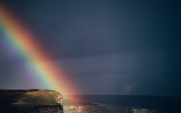 Eau, mer, arc en ciel, coucher de soleil, plage, ciel, paysage, océan