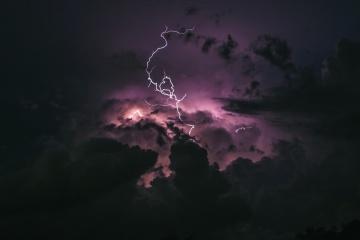 oluja, grmljavina, neba, kiše, mraka, grmljavine, noć, krajolik