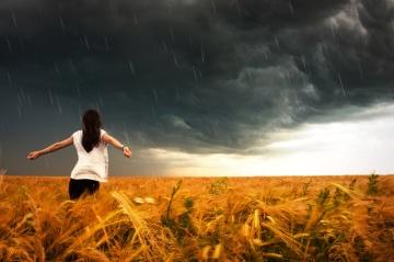 woman, agriculture, rain, cloud, sunset, sky