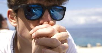 слънчеви очила, човек, лято, плаж, портрет