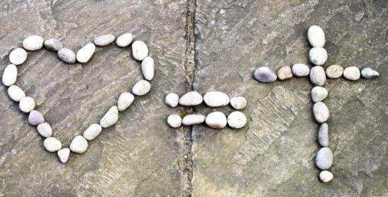 stone, nature, shape, heart, cross