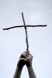 sky, cross, hand, finger, blue sky, christianity, symbol