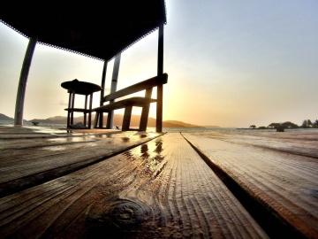 Muelle, muelle, puesta del sol, cielo, amanecer, naturaleza