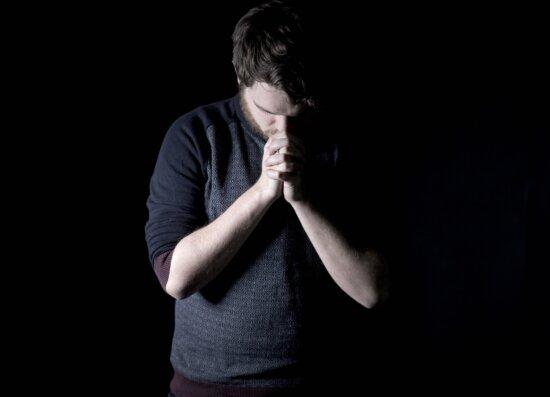 man, portrait, dark, prayer