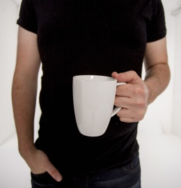 mug, person, man, cup, ceramic, black