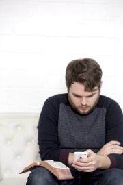 man, sit, portrait, indoors, sofa, mobile phone, technology, room, furniture