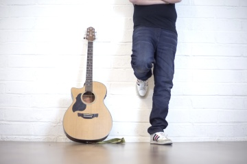 musician, guitar, floor, wood, indoors, man, acoustic guitar