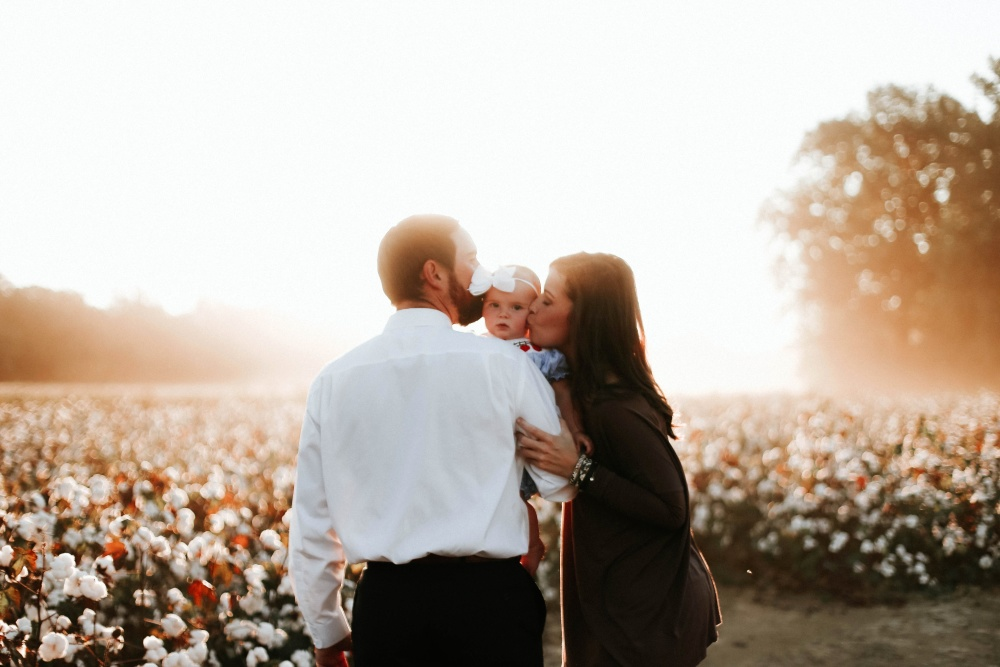 mother, father, baby, happy, flower garden, together, man, people, lifestyle