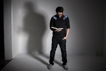 portrait, silhouette, man ,book, photo studio