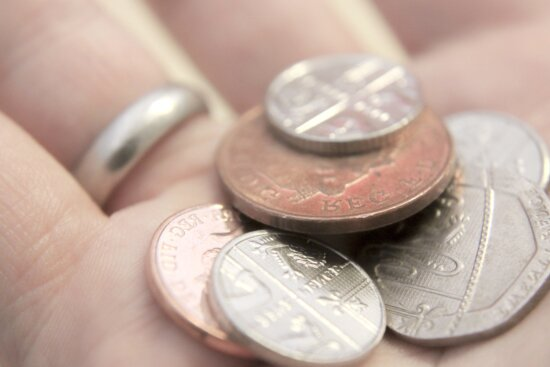 metal coin, hand, finger, currency, money, cash