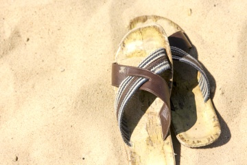 sand, beach, summer, old, leather, shoe, fashion, footwear