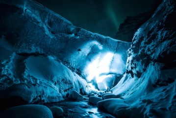 cave, exploration, night, snow, ice