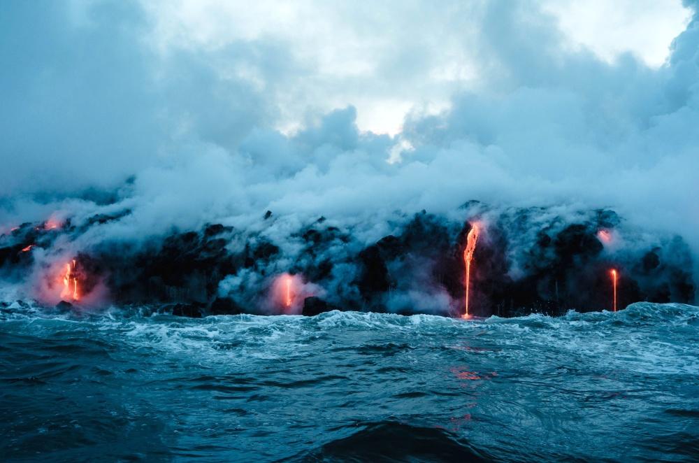 Vulkanausbruch, Hitze, Gefahr, Eruption, Ozean, Flamme, Wasser, Rauch, Landschaft