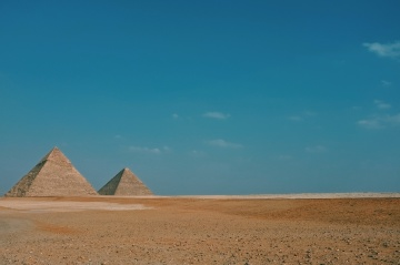 Pyramide, ägypten, wüste, sand, landschaft, blauer himmel