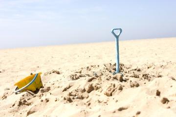 toy, summer, sand, beach, seashore, sea, sky, vacation