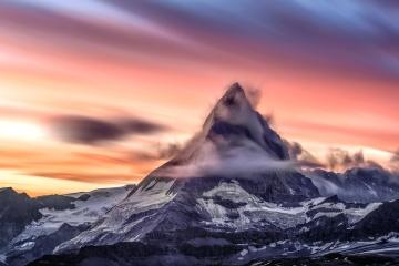 mountain peak, sky, snow, sunset, mountain, landscape