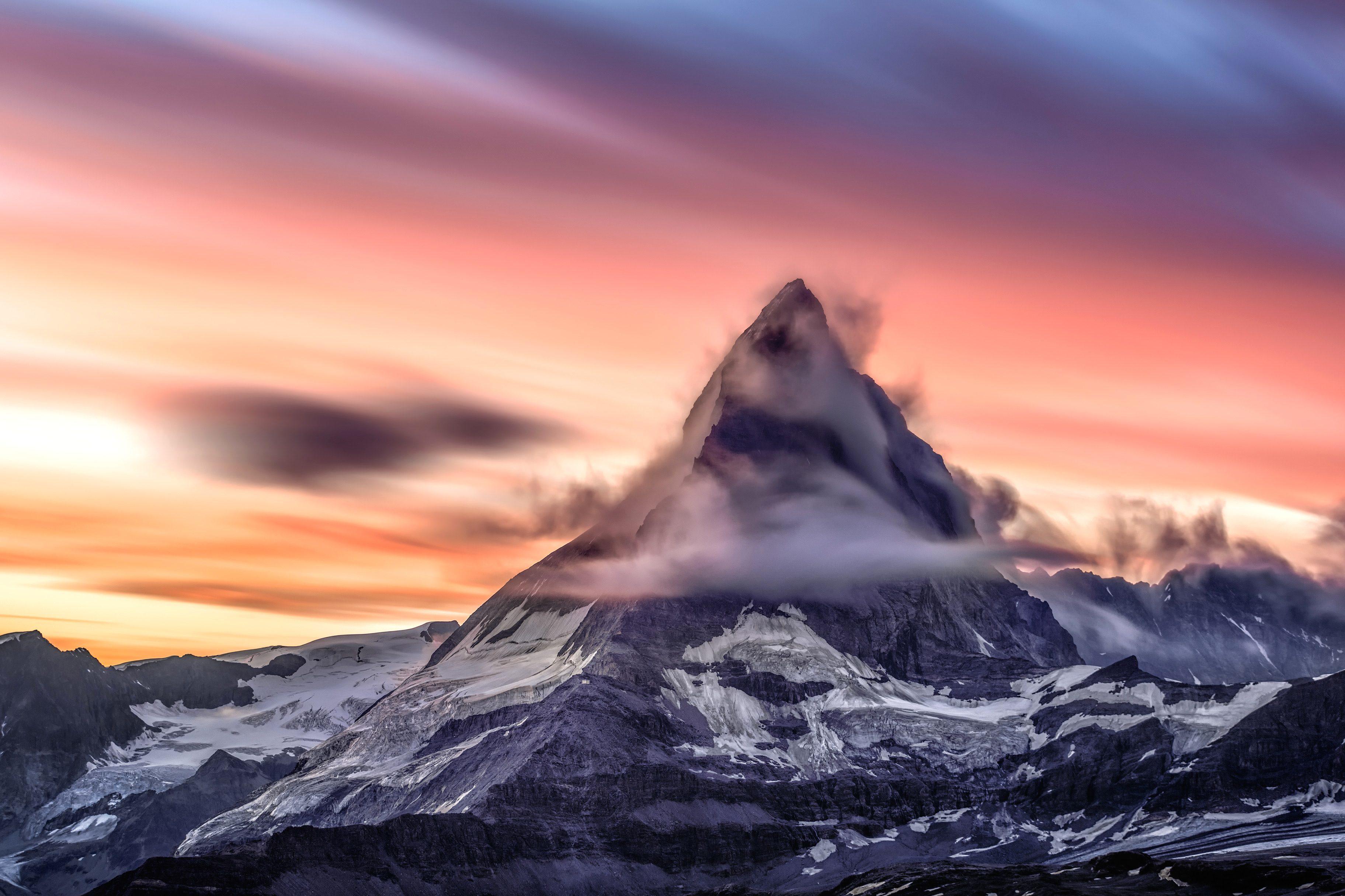 Free picture: mountain peak, sky, snow, sunset, mountain, landscape