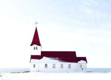 kostel, architektura, kříž, zima, sníh, moře, obloha