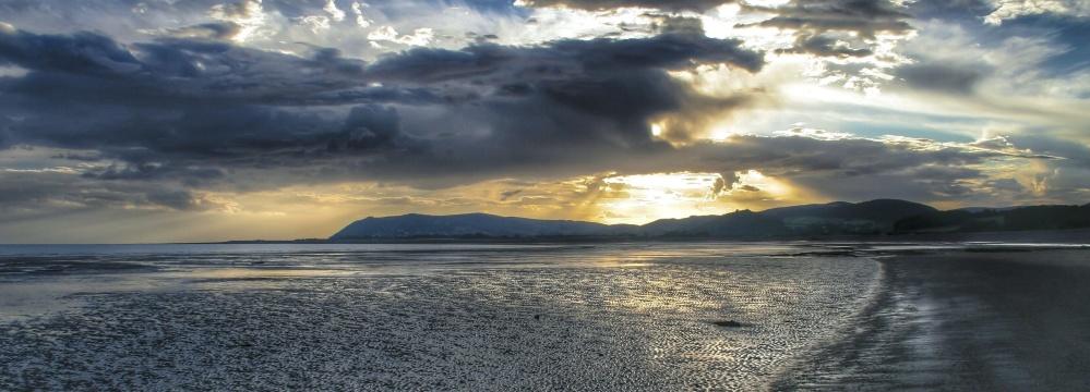 Захід сонця, води, небо, пляж, море, краєвид, буря, природи, Світанок
