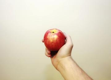 アップル、食品、フルーツ、栄養、おいしい、ビタミン、手