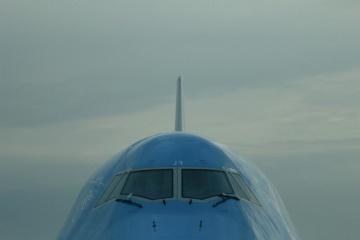 sky, airplane, vehicle, blue