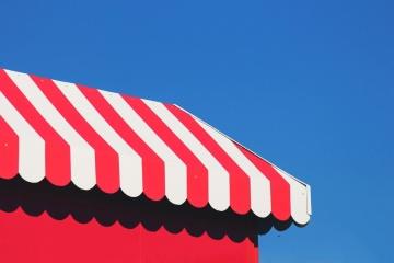 Cielo blu, bandiera, tetto, colorato, esterno