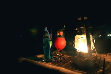 fruit cocktail, night, fruit juice, candle, flame, beverage