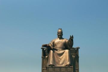 bronz, sochařství, socha, obloha, letní