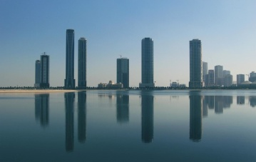 architecture, city, reflection, downtown, cityscape, sky, water