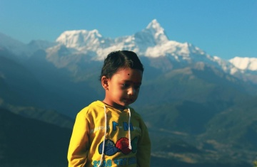 child, nature, hike, light, portrait, mountain peak, people, sky, landscape