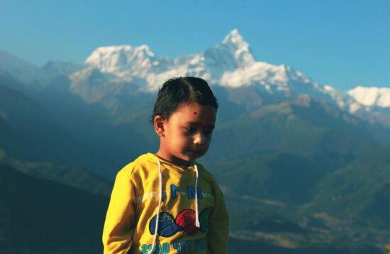 child, nature, hike, light, portrait, mountain peak, people, sky, landscape