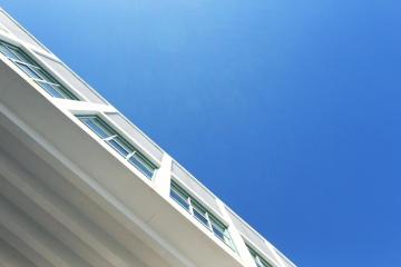 sky, architecture, contemporary, window, exterior, building, modern, blue sky