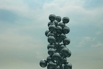 sculpture, sky, metal, black, steel, art, statue