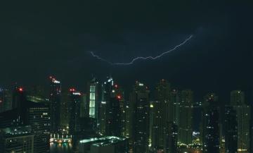 πόλη, φως, θύελλα, στο κέντρο της πόλης, πόλη, σκούρο