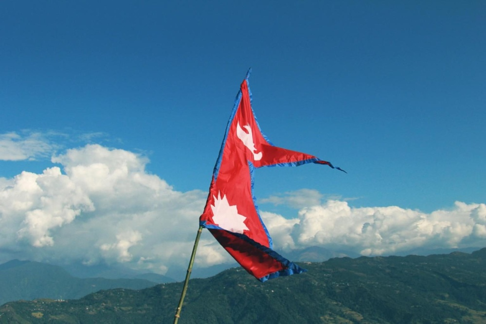 flag, sky, emblem, wind, mountain, stick