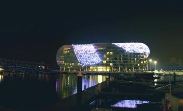 vody, město, most, reflexe, světla, řeka, architektura, centrum města