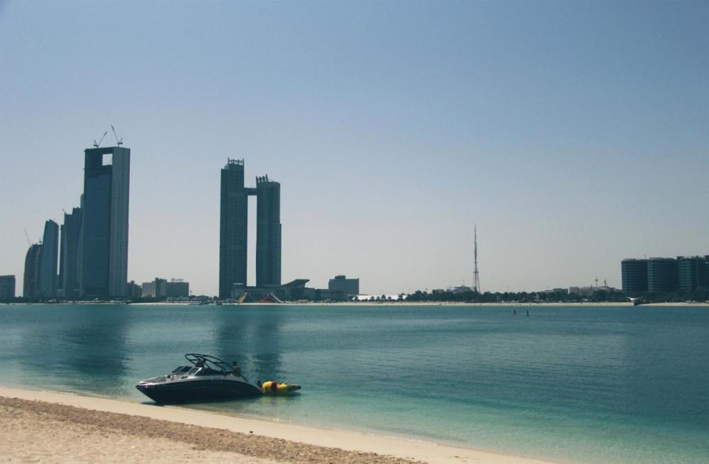 Costa, praia, água, arquitetura, cidade, céu, mar