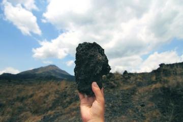 hand, stone, landscape, mountain, sky