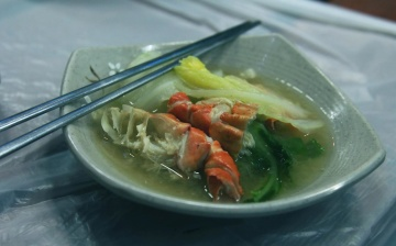 food, dish, soup, bowl, seafood, meal, nutriment, dinner