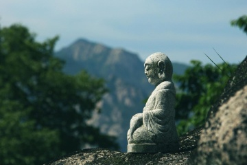 stone, statue, sky, art, religion, nature, mountain, Buddha, ancient, sculpture