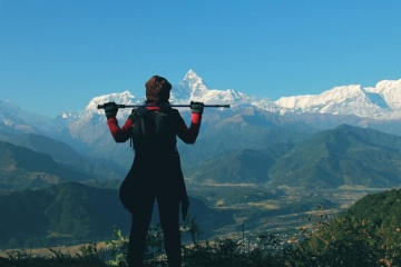 mountain climbing, person, mountain, hill, mountain peak