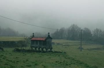 graveyard, field, fog, countryside, landscape, mist