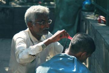 Peluquero, barbero, artesano, artesanía, gente, hombre, retrato