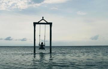 вода, силует, обект, отдих, океан, небе