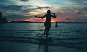 siluet, günbatımı, plaj, deniz, su, deniz, güneş, şafak, gökyüzü