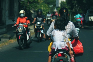 crowd, street, town, mother, motorcycle, child, people, vehicle