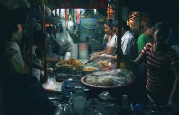ljudi, hrana, tržište, trgovina, noć, kuhanje